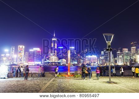 View of Victoria Harbour in Hong Kong from Kowloon waterfront