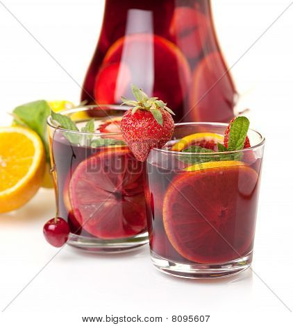 Two Glasses Of Fresh Fruit Sangria