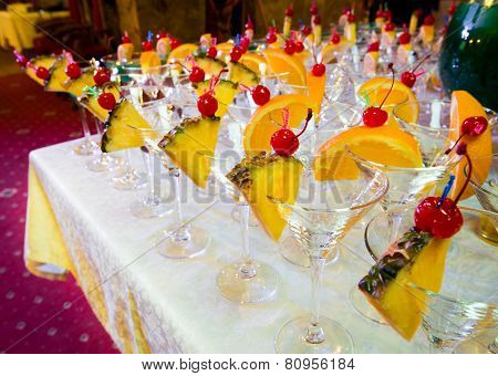 Catering - Empty Decorated Cocktail Glasses Ready For Pouring