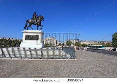 Bronze Statue Of Henry Iv On Pont Neuf In Paris, France