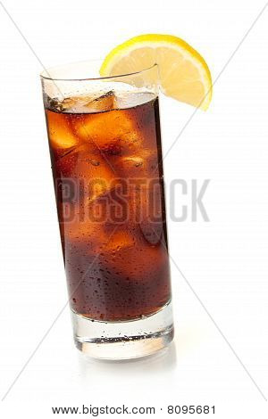 Cola In Highball Glass With Lemon Slice