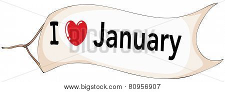 Illustration of I love January sign