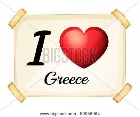 Illustration of I love Greece sign