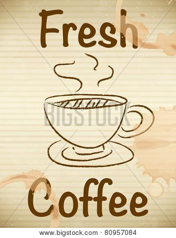 Illustration of fresh coffee paper with coffee stain