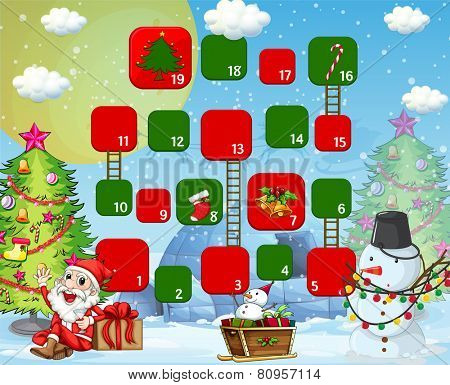 Illustration of a boardgame with christmas background