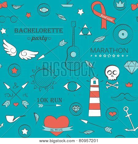 Doodle Seamless Hipster Pattern Over Turquoise