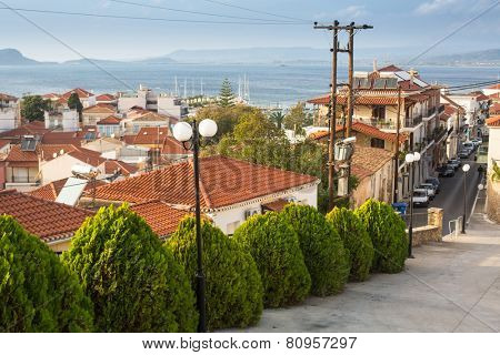 PYLOS, GREECE - OCT 6, 2014: One of the streets of Pylos island. Modern town of Pylos, was built by the troops of General Maison during the subsequent French Morea expedition of 1828-??1833.