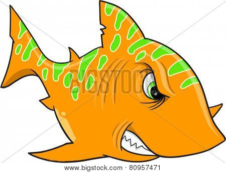 Angry Orange Shark Vector Illustration Art
