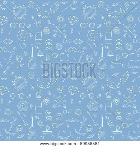 Sea Hand Drawn Hipster Seamless Pattern Over Blue