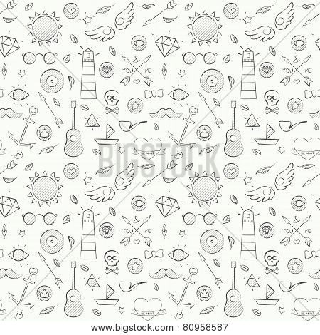 Sea Hand Drawn Hipster Seamless Pattern Over White