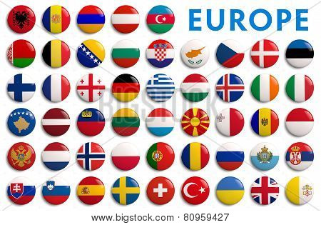 Europe Counties Flags - 3D Realistic