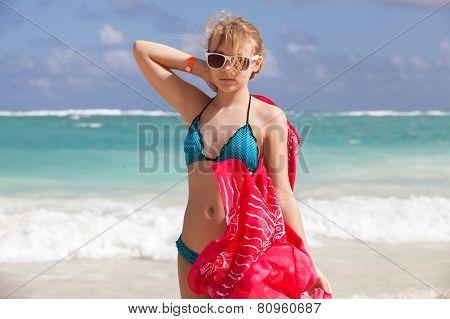 Portrait Of Beautiful Caucasian Teen Girl On Ocean Coast