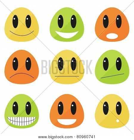 Collection Of 9 Flat Blob Emoticons