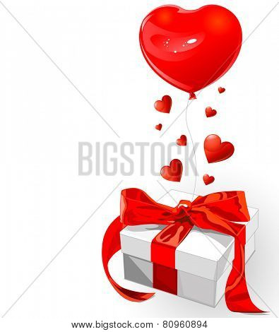 Valentine gift with red bow and heart shape balloon