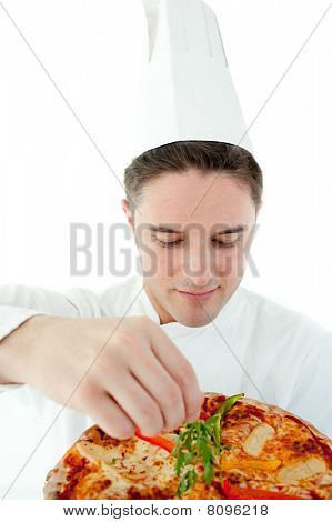 Beautiful Cook Preparing A Pizza