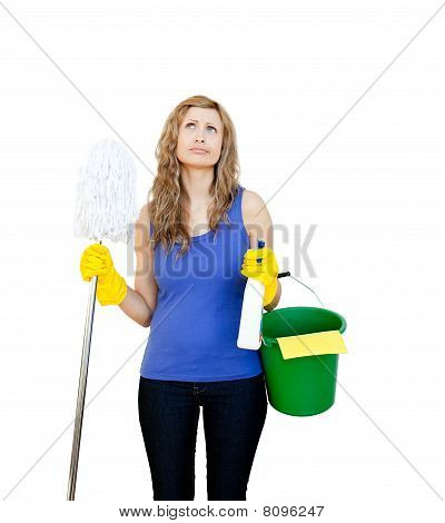 Thinking Woman With Cleaning Utensils