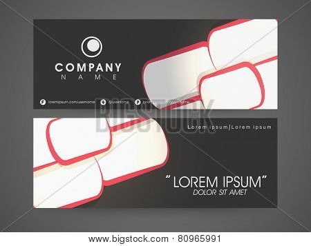 Business headers with company's name and contact details on black background.