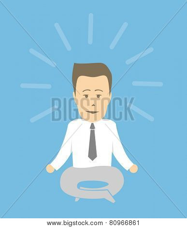 Businessman in a calm relaxed state. Meditating in a yoga pose.