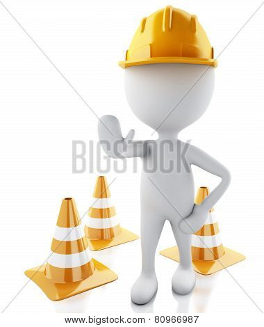 3d white people stop sign with helmet and traffic cones