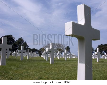 Cemetary At Omaha Beach, Normandy, France.