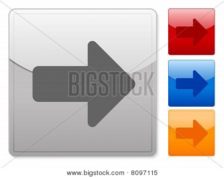 Web quadrado botões seta para direita