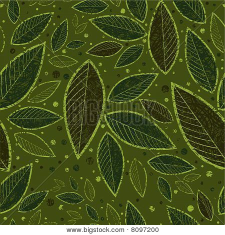 Seamless green floral pattern with leafs