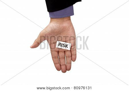 Hand Holding Paper With Risk Text