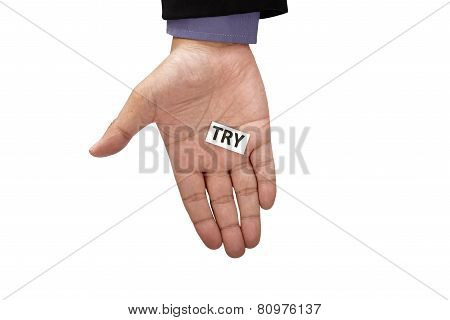 Hand Holding Paper With Try Text