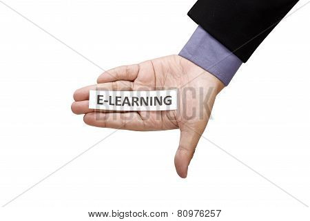 Hand Holding Paper With E-learning Text