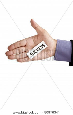 Hand Holding Paper With Success Text
