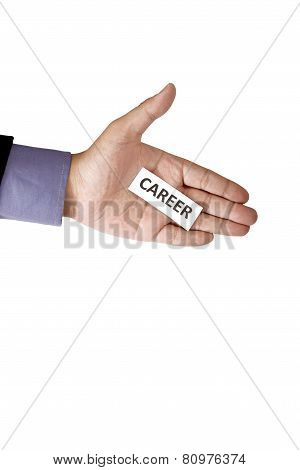 Hand Holding Paper With Career Text