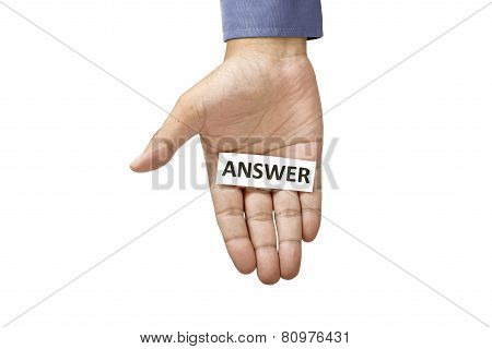 Hand Holding Paper With Answer Text