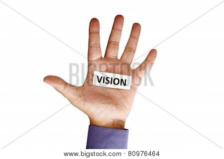 Hand Holding Paper With Vision Text