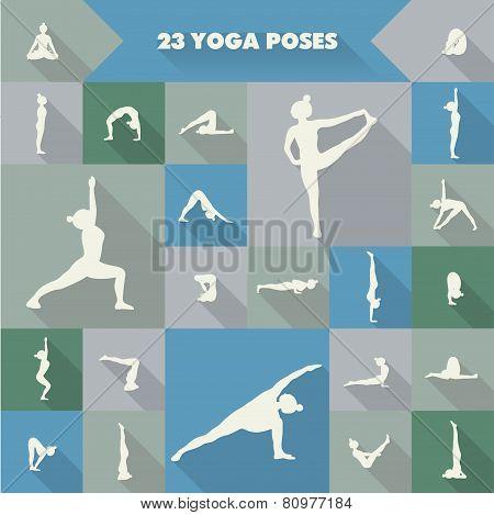 23 Yoga Poses Silhouettes