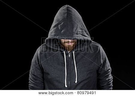 White Goatee Man Wearing Gray Hood