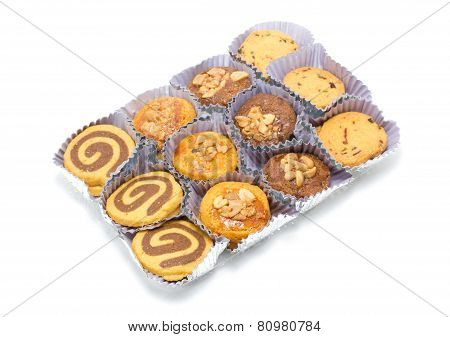 Set Of Cookies In Package Isolated On White.