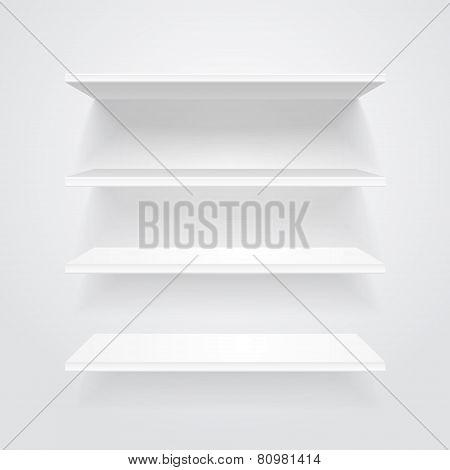 White shelves. Vector.