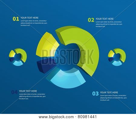 Abstract pie chart graphic for business design