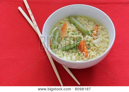 Asian Vegetable Noodle Soup Bowl