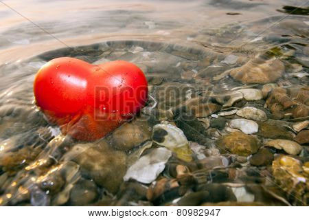 Red Shape Heart Been Drowning Water