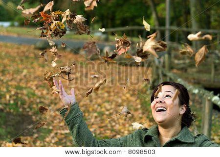 Falling Leaves Girl