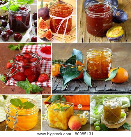 collage of different kinds of jam (peach, strawberry, orange, plum and fig)
