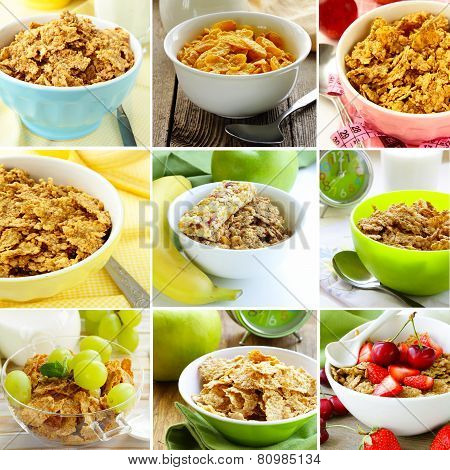 collage of different variants of muesli (granola) for breakfast