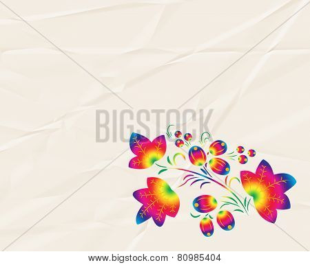 Rainbow  pattern in the style  Khokhloma on the  crumpled paper