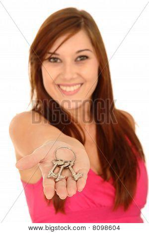 Pretty Woman With Keys