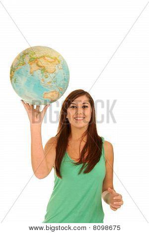 Gorgeous Brunette Lady With World Globe
