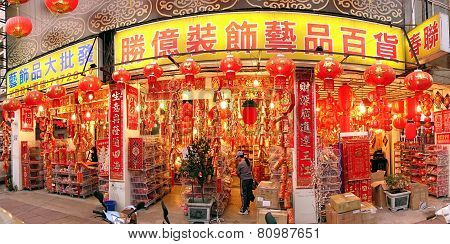 Large Store Sells Chinese New Year Decorations
