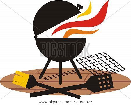 Outdoor Deck Charcoal BBQ Grill Fire Cooking Utensils