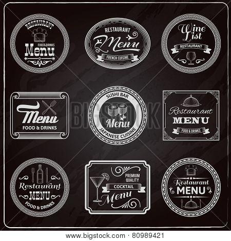 Retro Menu Labels Chalkboard