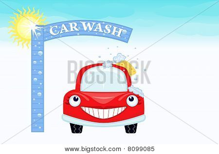 Car wash with smiling car